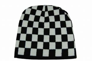 Black & White Check Beanie Hat
